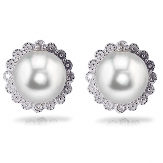 PEWTER & PLATED JEWELRY - STERLING SILVER 8-8.5 MM BUTTON FRESHWATER PEARL AND DIAMOND EARRINGS  SET WITH 8 DIAMONDS .035 CARAT TOTAL WEIGHT