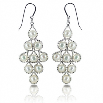 PEWTER & PLATED JEWELRY - STERLING SILVER IMPERIAL LACE 6 -6.5 MM FRESHWATER PEARL EARRINGS