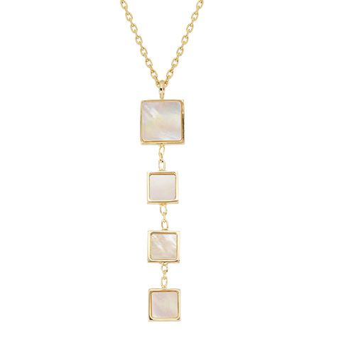 PEARL PENDANTS - 14 KARAT YELLOW GOLD LARIAT LINK CHAIN WITH 4 GRADUATED SQUARE MOTHER OF PEARLS BY HONORA DESIGN