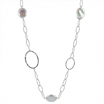 STERLING SILVER/PEARL NECKLACES - 36