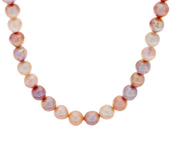 STERLING SILVER/PEARL NECKLACES - 11-15 MM NATURAL CARVED MING PEARL NECKLACE WITH MAGNETIC CLASP