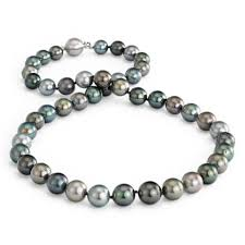 PEARL NECKLACE/GOLD - 11.1  X  14 MM STRAND OF OFF ROUND MULTICOLOR TAHITIAN SOUTH SEA PEARLS, 33 PEARLS, 23.4 MM / 18 INCHES