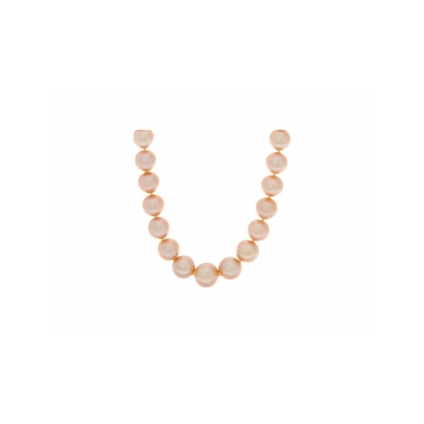 PEARL NECKLACE/GOLD - 13-15 MILLIMETER GOLD MING FRESH WATER CULTURED  PEARLS WITH  14 KARAT GOLD AND DIAMOND GOLD