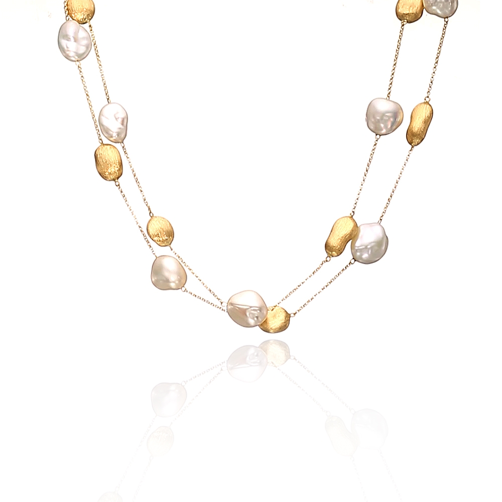 PEARL NECKLACE/GOLD - 18 KARAT YELLOW GOLD NECKLACE COMBINING 10X14MM TO 11X15MM WHITE KESHI FRESH WATER PEARLS BY YVEL DESIGN