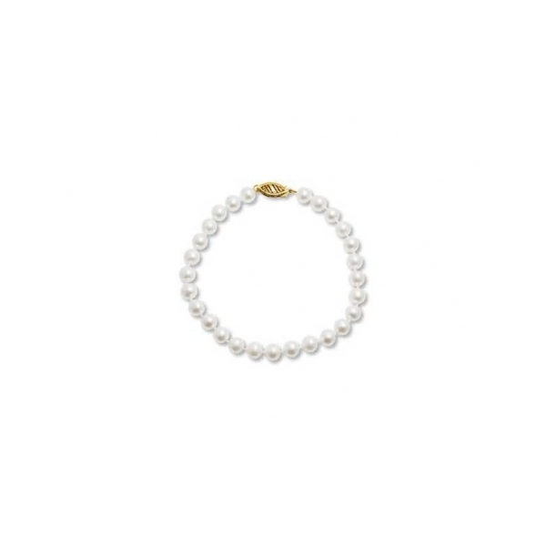 PEARL BRACELETS - 5-5.5 MILLIMETER WHITE CULTURED PEARL CHILD'S BRACELET WITH 14 KARAT YELLOW GOLD FILIGREE CLASP