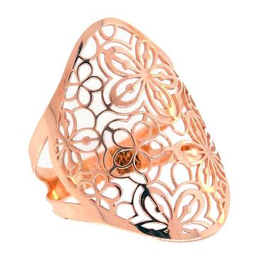 GOLD FASHION RINGS - 14 KARAT ROSE GOLD FASHION RING WITH FLOWER PATTERN BY PEJAY CREATIONS