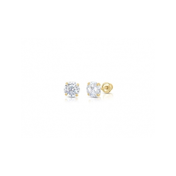 GOLD EARRINGS - 14 KARAT YELLOW GOLD CUBIC ZIRCON SOLITAIRE EARRINGS (2 CARAT TOTAL WEIGHT SIZE) SET IN SCREW BACK SETTINGS (ESTATE)