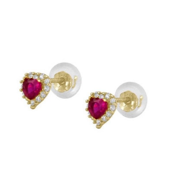 GOLD EARRINGS - 14 KARAT YELLOW GOLD 3 MM RED CUBIC ZIRCON HEART HALO EARRINGS WITH SCREW BACKS