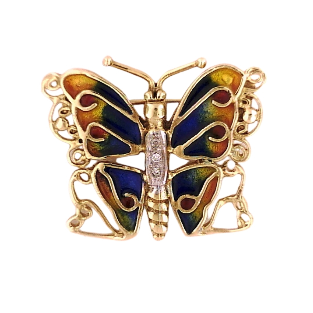 KARAT GOLD PENDANTS/CHARMS - 14 KARAT YELLOW GOLD ENAMELED BUTTERFLY PIN BY SINGER COLLECTION