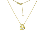 KARAT GOLD PENDANTS/CHARMS - 14 KARAT YELLOW GOLD MINI SAILING BOAT CUT OUT PENDANT ON ROPE CHAIN