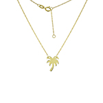 KARAT GOLD PENDANTS/CHARMS - 14 KARAT YELLOW GOLD MINI PALM TREE PENDANT ON ROPE CHAIN