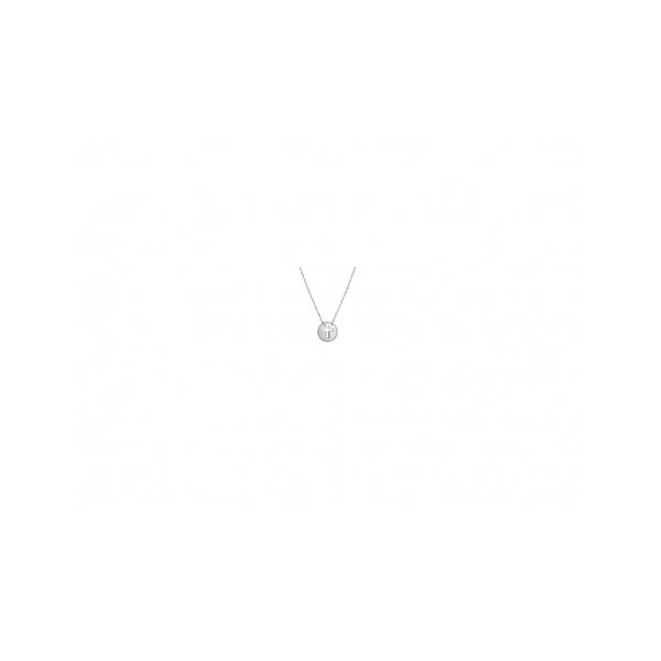 KARAT GOLD PENDANTS/CHARMS - 14 KARAT WHITE GOLD MINI DISC CUT OUT CROSS PENDANT ON ADJUSTABLE ROPE CHAIN