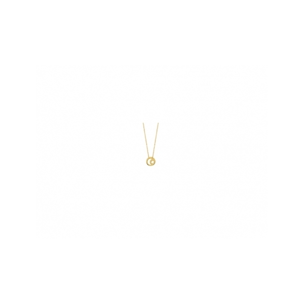 KARAT GOLD PENDANTS/CHARMS - 14 KARAT YELLOW GOLD MINI DISC CUT OUT MOON ON ADJUSTABLE ROPE CHAIN