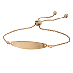 KARAT GOLD BRACELETS - 14 KARAT ROSE GOLD OBLONG SHAPED ID BOLO BRACELET