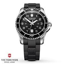 SWISS ARMY WATCHES - MAVERICK GS-LARGE BLACK DIAL-DATE-BLACK BEZEL-BLACK RUBBER STRAP-SERIAL#100667273