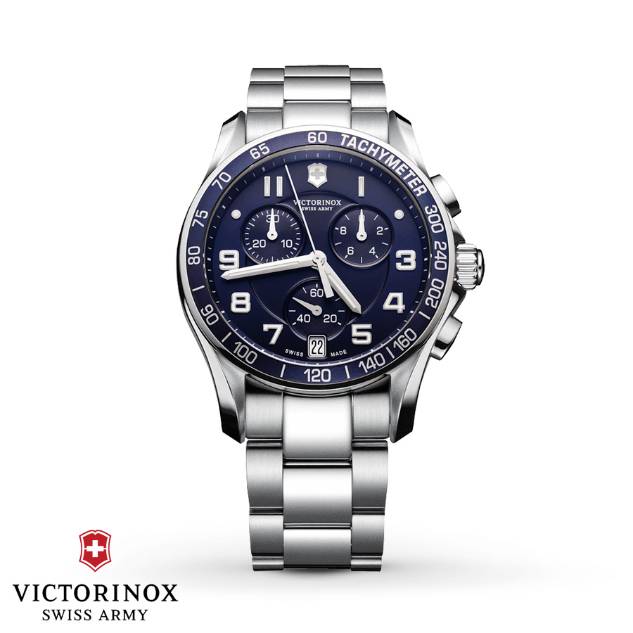SWISS ARMY WATCHES - SWISS ARMY CHRONO CLASS WATCH-STEEL BRACELET-ROUND BLUE DIAL AND BRZEL-DATE A true technical classic in a timeless design