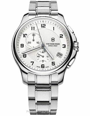 SWISS ARMY WATCHES - SWISS ARMY OFFICERS CHRONO WATCH-SS BRACELET-DATE-OFF WHITE DIAL-SERIAL#120602281 This chronograph swiss army watch unites tradition and modernity with its understated elegance and refinement.