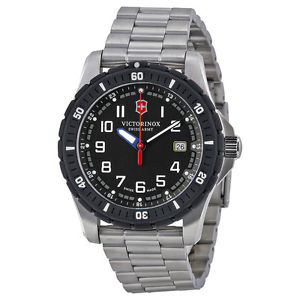 SWISS ARMY WATCHES - SWISS ARMY MAVERICK SPORT WATCH- LARGE BLACK DIAL AND BEZEL- STAINLESS STEEL BRACELET