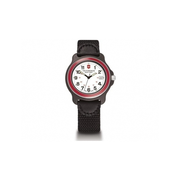 SWISS ARMY WATCHES - SWISS ARMY WATCH- ORIGINAL SERIES- WHITE DIAL- RED BEZEL= DATE- BLACK NYLON STRAP