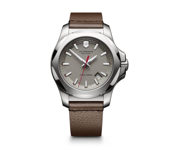 SWISS ARMY WATCHES - SWISS ARMY INOX SERIES WATCH- GRAY DIAL- BROWN LEATHER STRAP-DATE