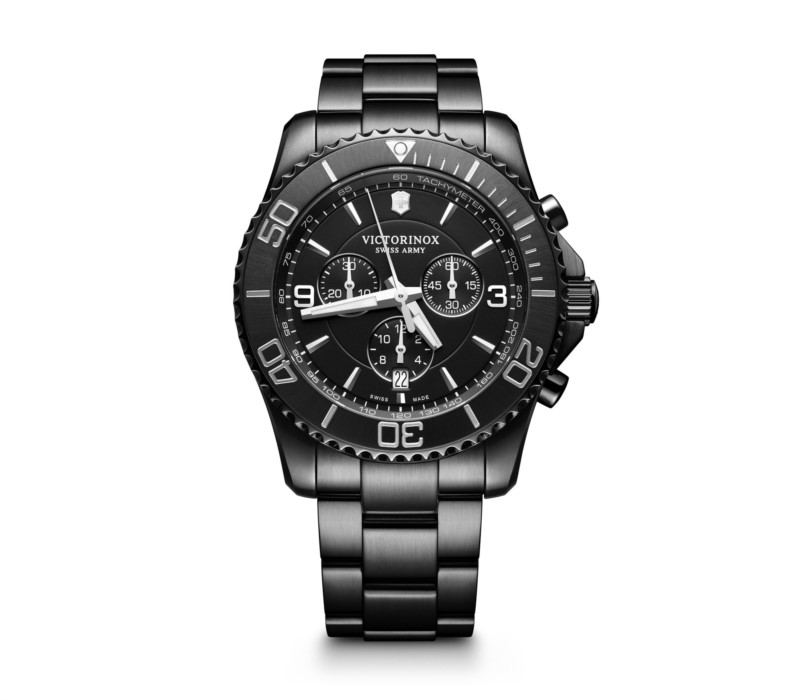 SWISS ARMY WATCHES - SWISS ARMY NIGHTVISION SERIES- CHRONOGRAPH- BLACK ICE BRACELET- DATE- BLACK DIAL
