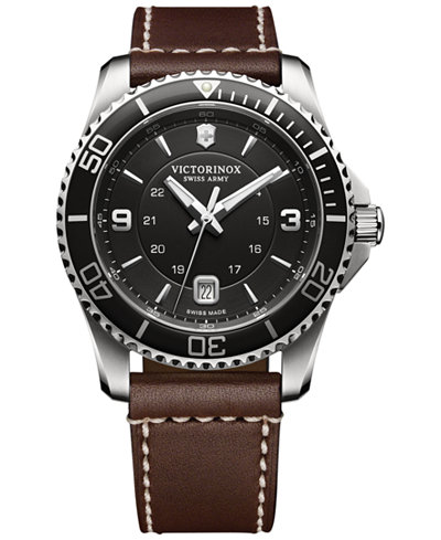 SWISS ARMY WATCHES - SWISS ARMY MAVERICK REMIX SERIES- BLACK DIAL- BLACK BEZEL-BROWN LEATHER STRAP- DATE