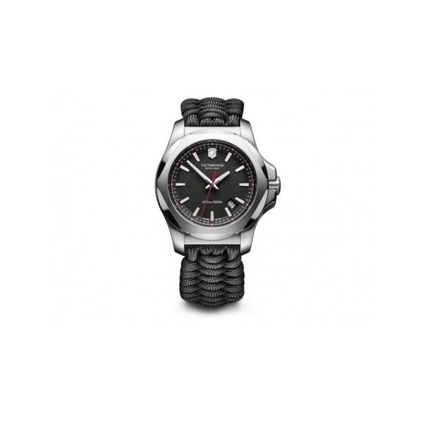 SWISS ARMY WATCHES - SWISS ARMY INOX PARACORD WATCH- BLACK DIAL- BLACK PARACORD STRAP-DATE