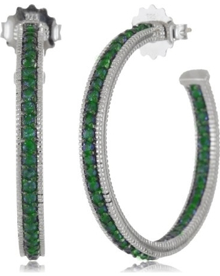 Sterling Silver Semi Precious Earrings - SS POST HOOP EARRINGS WITH PAVE GREEN QUARTZ 1.76CT