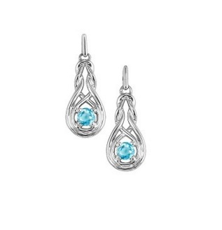 Sterling Silver Semi Precious Earrings - STERLING SILVER  POST DROP KNOT EARRINGS WITH .28 CARAT IN AQUAMARINES