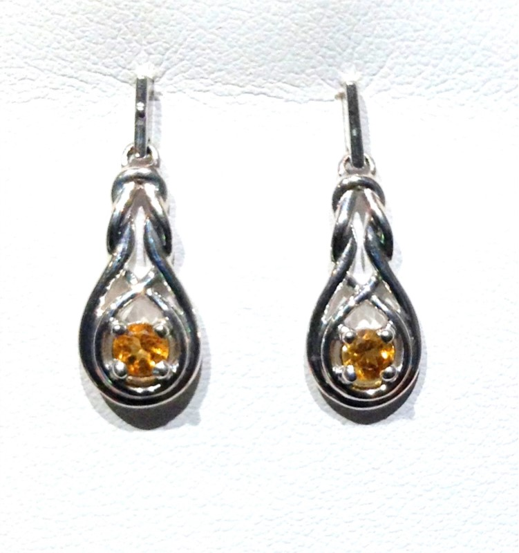 Sterling Silver Semi Precious Earrings - STERLING SILVER POST DROP  INFINITY EARRINGS SET WITH .28 CARAT TOTAL WEIGHT IN CITRINES