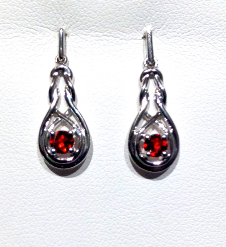Sterling Silver Semi Precious Earrings - STERLING SILVER  POST DROP INFINITY EARRINGS SET WITH .45 CARAT TOTAL WEIGHT IN GARNETS
