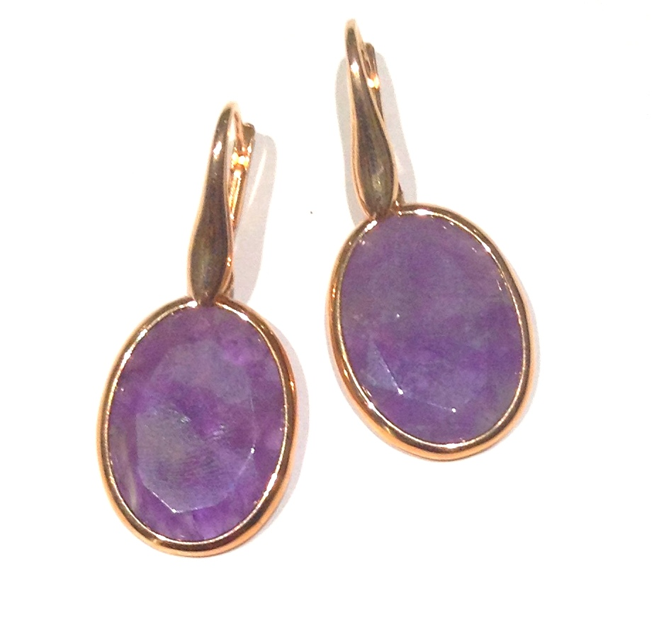 Sterling Silver Semi Precious Earrings - STERLING SILVER AND GOLD VERMEIL EARRINGS SET WITH OVAL AMETHYST DROPS BY RINA LIMOR DESIGN