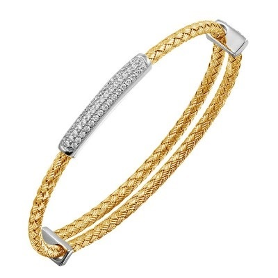 STERLING SILVER BRACELETS - ALYSON 3 MM STERLING SILVER AND 18 KARAT YELLOW PLATE FINISH WOVEN BANGLE WITH ADJUSTABLE CUBIC ZIRCON BAR