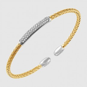 STERLING SILVER BRACELETS - SANDY 3 MM STERLING SILVER AND 18 KARAT GOLD PLATE WOVEN REVERSIBLE CUBIC ZIRCON CUFF