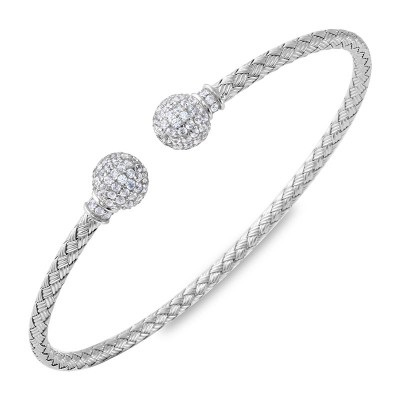 STERLING SILVER BRACELETS - LUNA 3 MM STERLING SILVER CUFF WITH CUBIC ZIRCON BALL ENDS