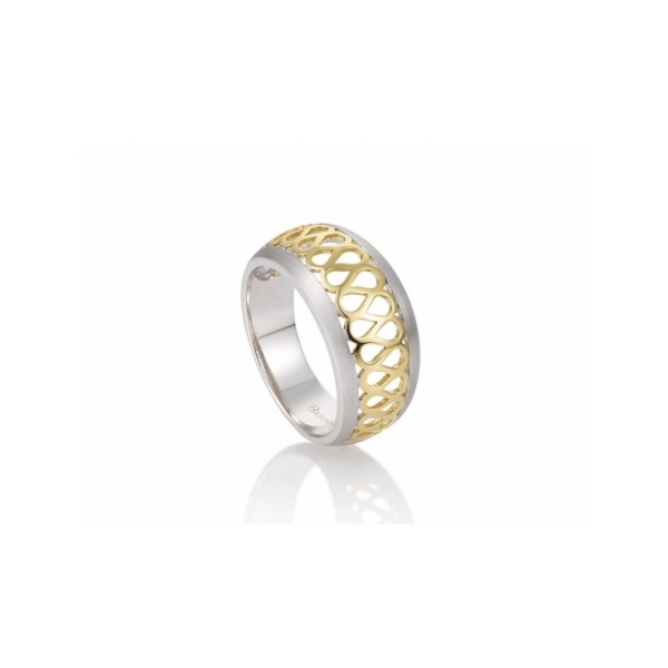 STERLING SILVER RINGS - STERLING SILVER AND GOLD VERMEIL BAND RING BY BREUNING DESIGN
