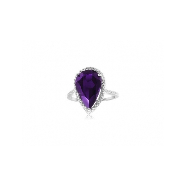 STERLING SILVER RINGS - STERLING SILVER FACETED PEAR SHAPED AMETHYST RING SURROUNDED BY PRONG SET CUBIC ZIRCONS
