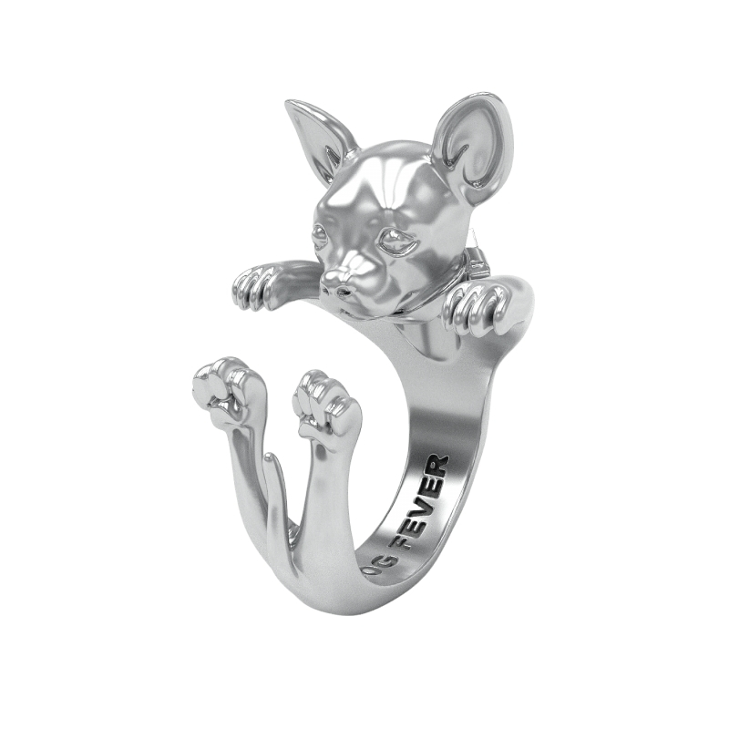 STERLING SILVER RINGS - STERLING SILVER  CHIHUAHUA DOG FEVER HUG RING