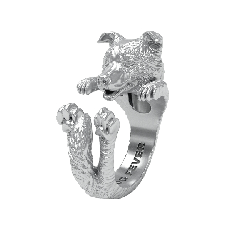 STERLING SILVER RINGS - STERLING SILVER BORDER COLLIE DOG  FEVER HUG RING