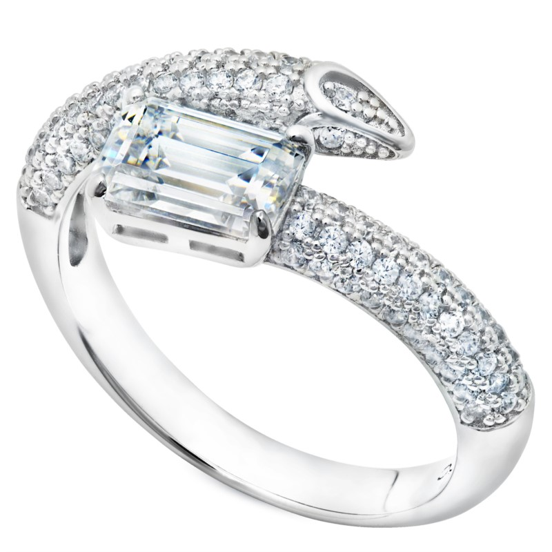 STERLING SILVER RINGS - STERLING SILVER SPIKED PAVE EMERALD CUT WRAPPED  RING SET WITH 1.96 CARAT CUBIC ZIRCONS BY CRISLU