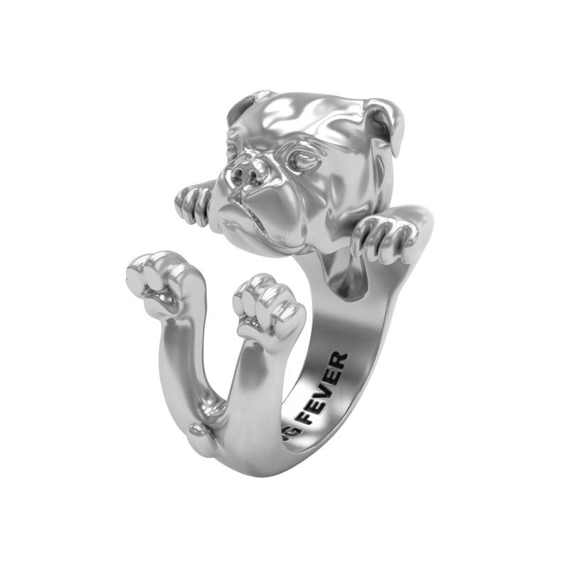 STERLING SILVER RINGS - STERLING SILVER ENGLISH BULLDOG DOG FEVER HUG RING