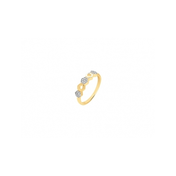 STERLING SILVER RINGS - MURAT STERLING SILVER GOLD PLATE AND CUBIC ZIRCON RING