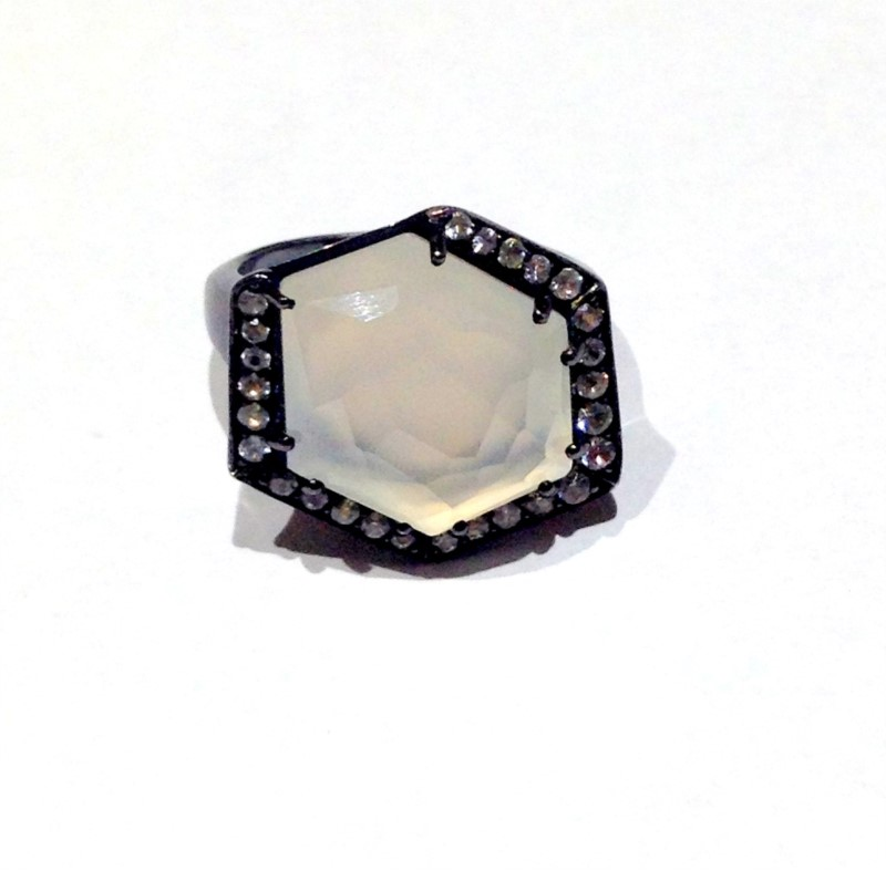 STERLING SILVER RING WITH GEMSTONES - STERLING SILVER/BLACK RHODIUM  AND WHITE TOPAZ HEX RING