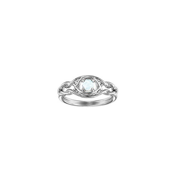 STERLING SILVER RING WITH GEMSTONES - STERLING SILVER  INFINITY RING SET WITH ONE OPAL AT .14 CARAT