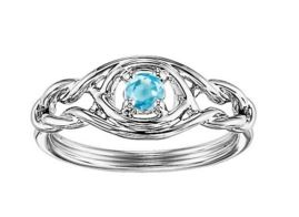 STERLING SILVER RING WITH GEMSTONES - STERLING SILVER INFINTY RING SET  WITH .14 CARAT IN  AQUAMARINE