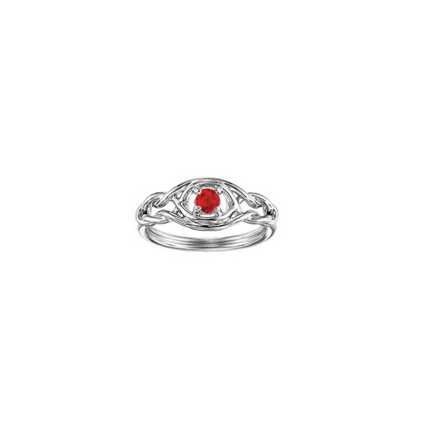 STERLING SILVER RING WITH GEMSTONES - STERLING SILVER INFINITY RING SET WITH .24 CARAT GARNET