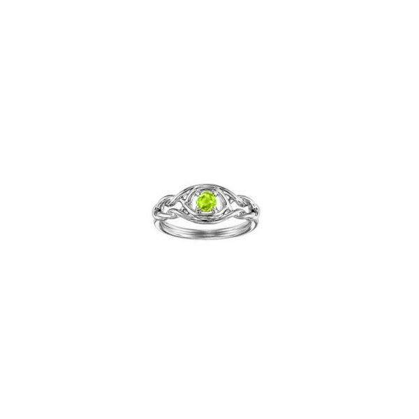 STERLING SILVER RING WITH GEMSTONES - STERLING SILVER  INFINITY RING SET  WITH .24 CARAT PERIDOT .