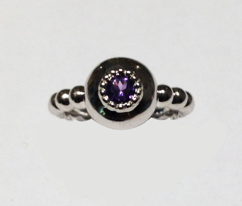 STERLING SILVER RING WITH GEMSTONES - STERLING SILVER BALL SHANK RING SET WITH AMETHYST. LOVE LIFE BY RON ROSEN
