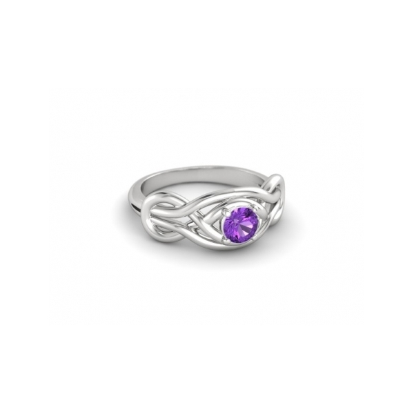 STERLING SILVER RING WITH GEMSTONES - STERLING SILVER KNOT RING WITH ROUND AMETHYST CENTER