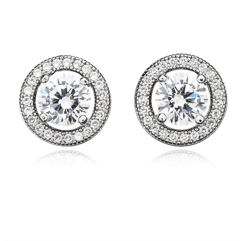 STERLING SILVER EARRINGS - STERLING SILVER/PLATINUM HALO STYLE POST EARRINGS SET WITH 2.14 CARATS OF CUBLZ ZIRCONS